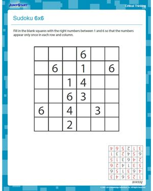 Sudoku 6x6 - Free 3rd Grade Critical Thinking Worksheet