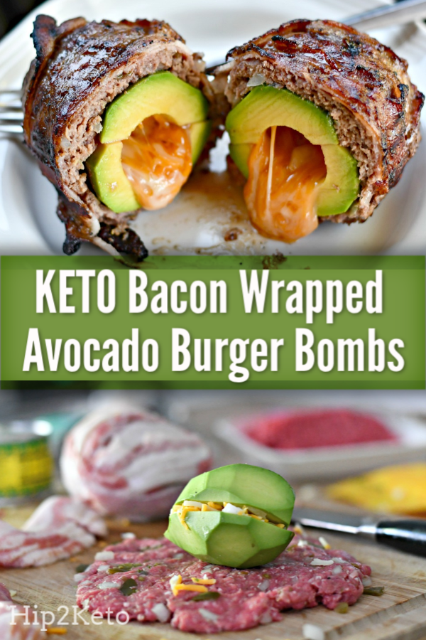 Grill These Keto Bacon Wrapped Avocado Burger Bombs Bacon Wrapped Avocado Avocado Recipes Avocado Burger