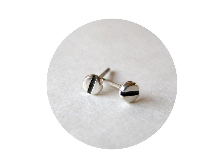 ccc899b8d 4mm Small Screw Earrings for Men or Women. Teeny Tiny Stud Earrings.  Handmade 925