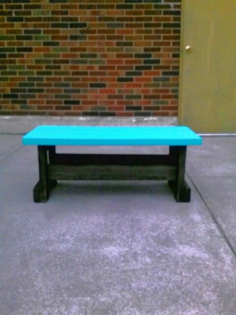 Beautiful teal outdoor bench!