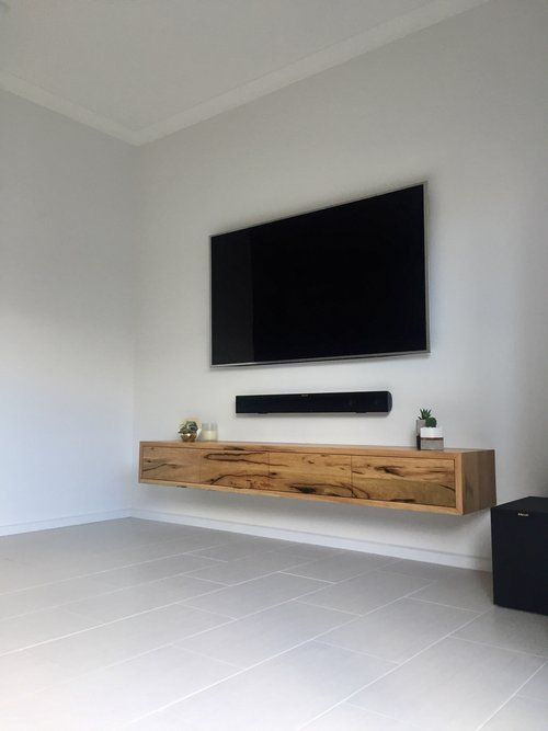Tv Stand Designs On Wall : Collie floating tv unit in natural wood room