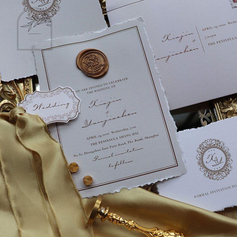 Vintage Deckle Edge Wedding Invitations With Wax Seals Ws295 In 2020 Wedding Invitations Invitations Reception Card