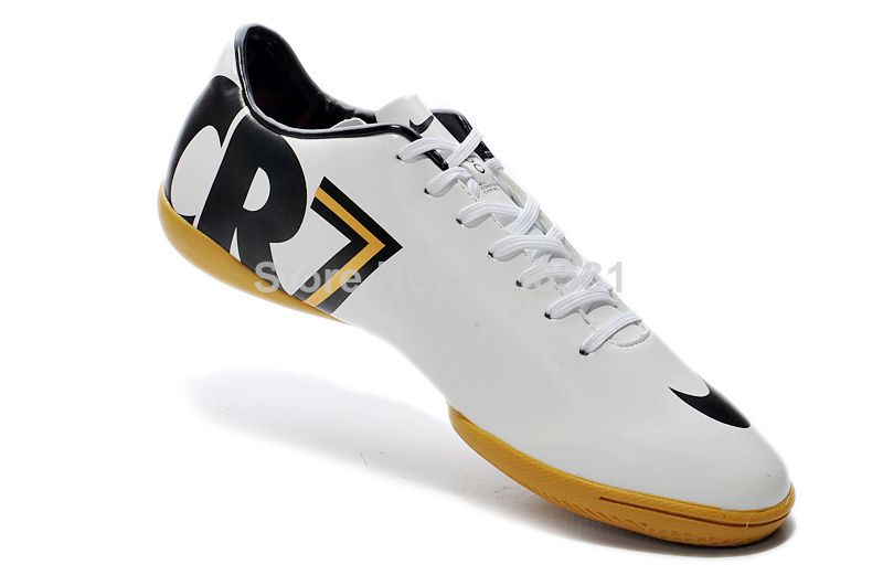 ea3abd592 White And Gold  White And Gold Indoor Cr7 Shoes