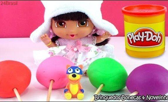 Baby Dora a Aventureira Pirulito Massinha Play-Doh Surpresa Peppa Pig  Galinha Pintadinha Pocoyo