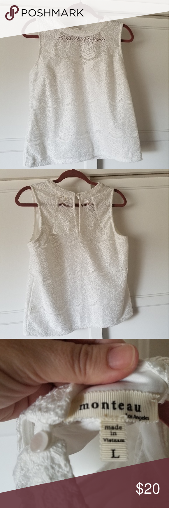 c603ba3e142c7b Monteau White Lace High Neck Tank Perfect condition. Beautiful bright white.  Lined lace tank
