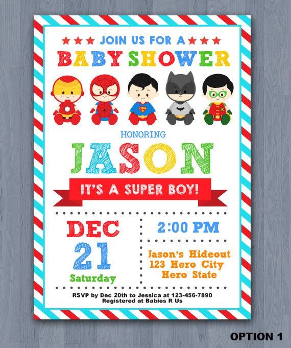 Superhero Baby Shower Invitation Super Baby Shower By KidzParty