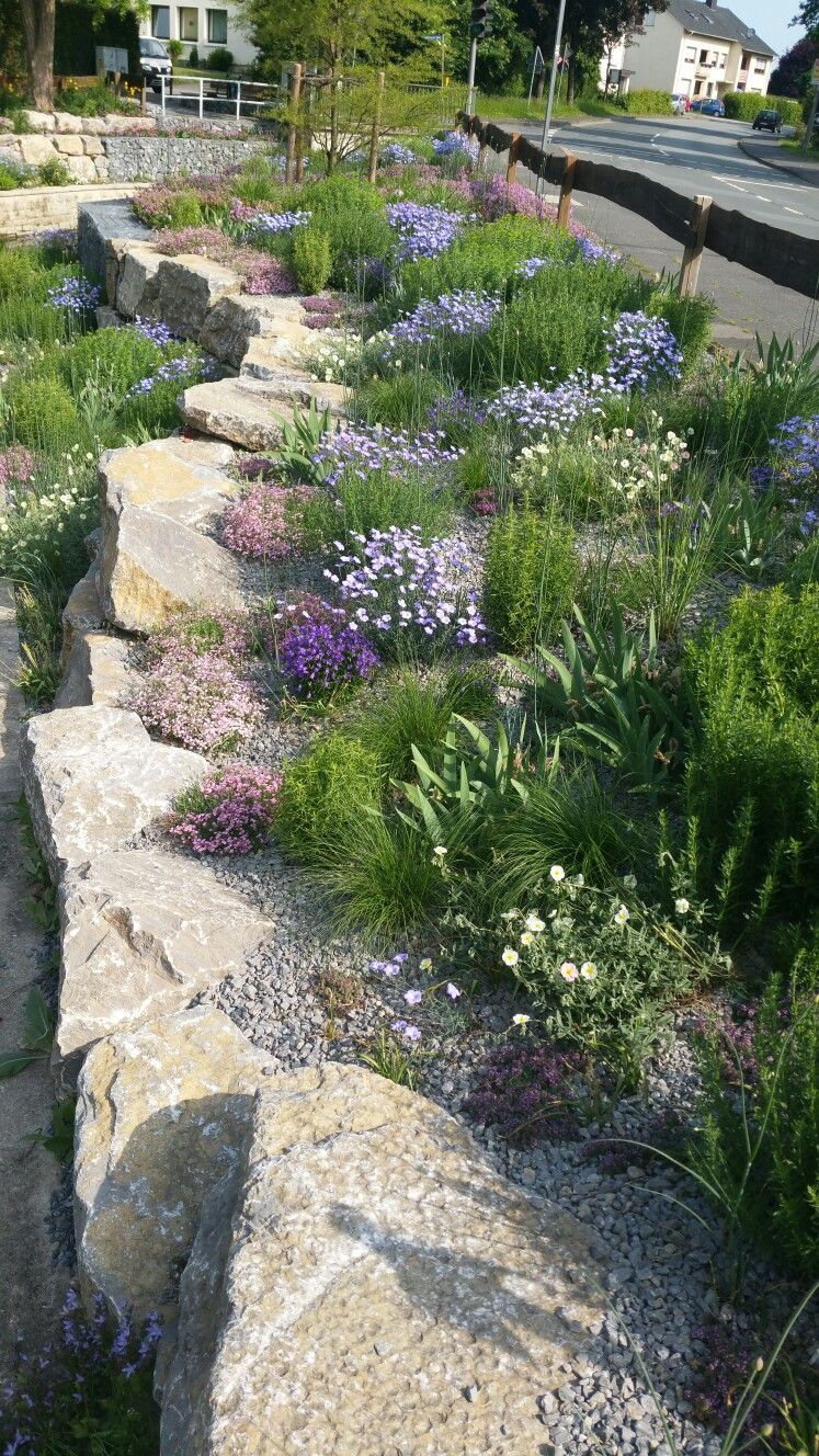retaining wall with perennials