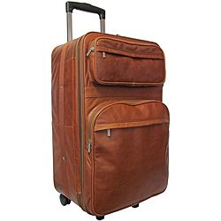 Amerileather Brown Leather 26-inch Expandable Rolling Upright ...