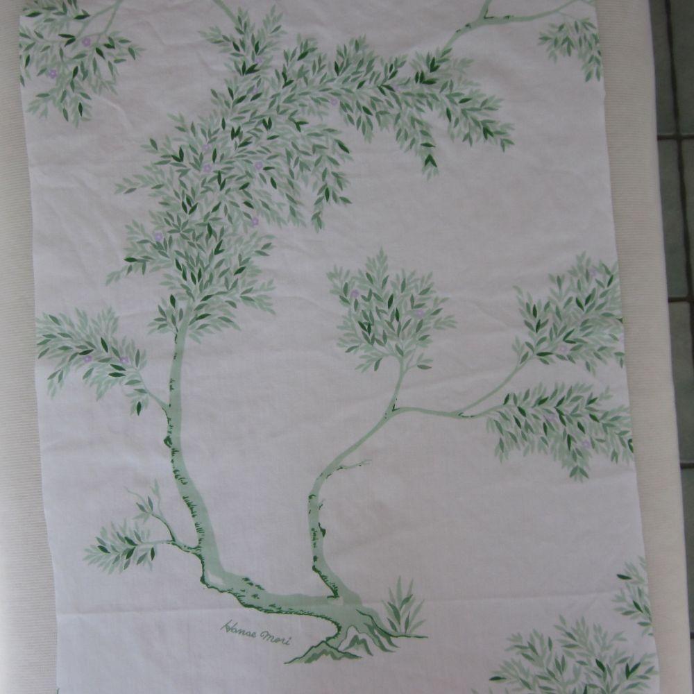 vintage fabric fat quarter (hanae mori green tree with lavender flowers)