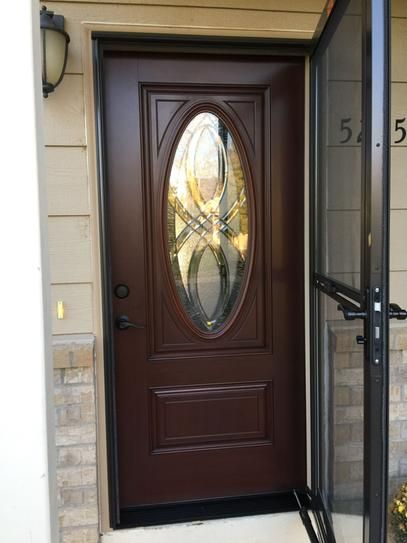 Masonite 36 In X 80 In Everland Cianne Cherry Left Hand Inswing 3 4 Oval Smooth Finished Fiberglass Prehung Front Exterior Door 39892 The Home Depot Contemporary Front Doors Front Door Exterior Doors
