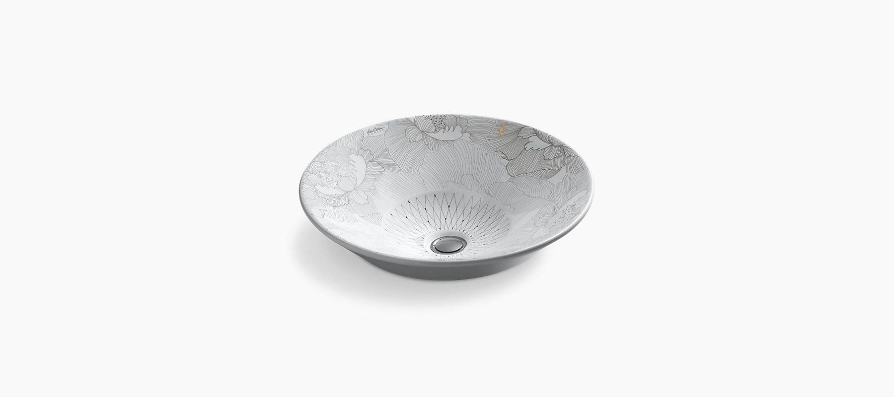 K-14223-SMC | Empress Bouquet Design on Conical Bell Countertop Sink | KOHLER