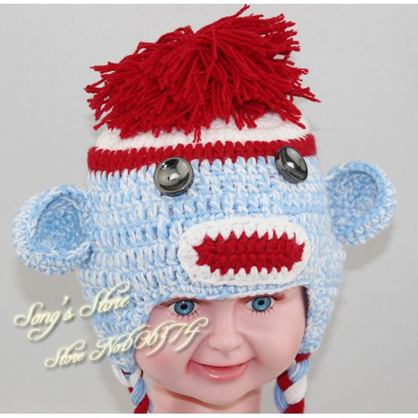 Free crochet character hat patterns crochet pattern multicolor free crochet character hat patterns crochet pattern multicolor sock monkey hat handmade baby hat kids dt1010fo