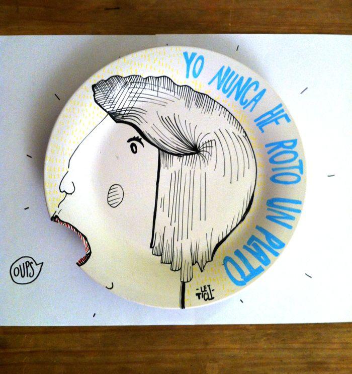 Yo nunca he roto un plato...  #Illustration, #ilustración, #diseño, #design, #type, #typography, #tipografía, #ceramic, #cerámica, #plato #plate