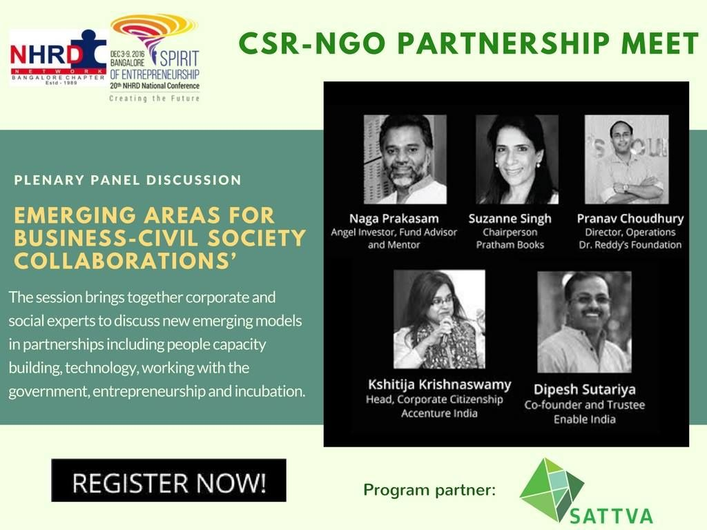 How can companies join forces with non-profits and communities for sustainable and inclusive growth? Join us at the NHRD Bangalore Chapter CSR-NGO partnership meet where we bring together corporate and social experts to discuss new emerging models in business and civil society partnerships: www.goo.gl/JDzaKw