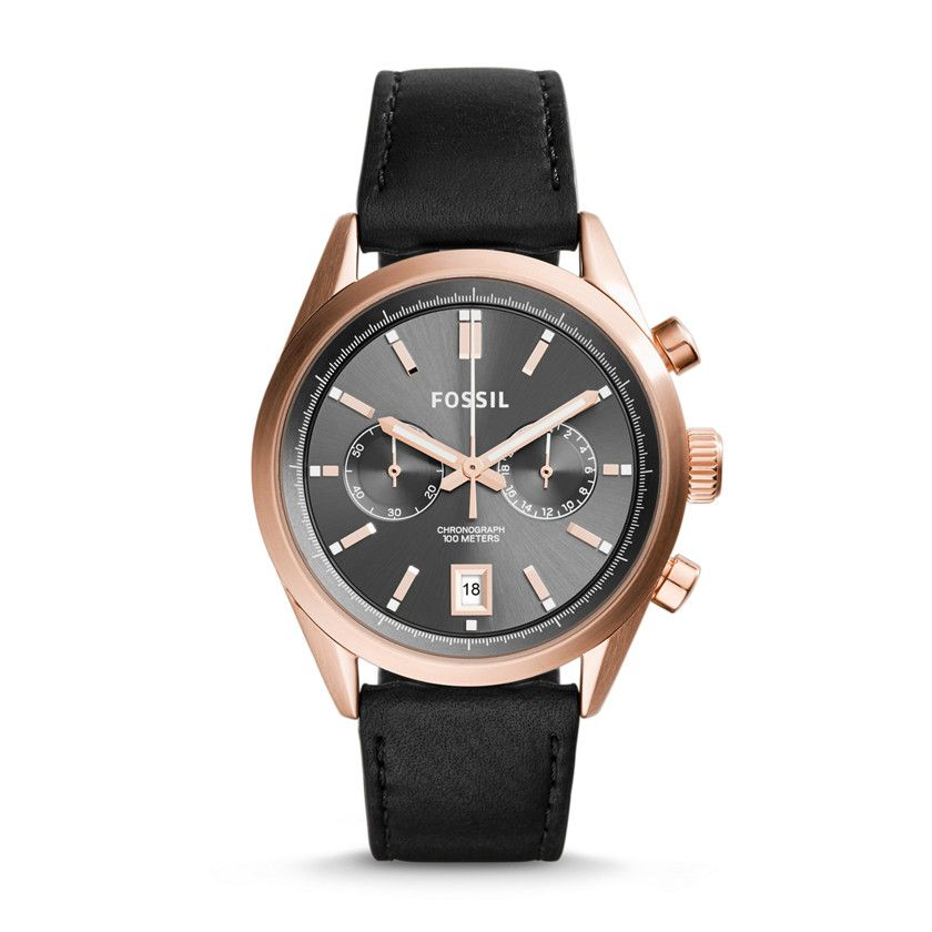 Fossil Del Rey Chronograph Leather Watch Black Fossil