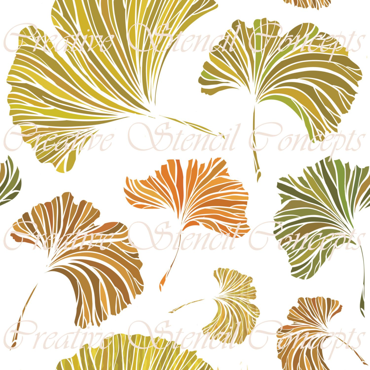 This is a Ginkgo Leaves Seamless Decorative Stencil. Perfect for ...