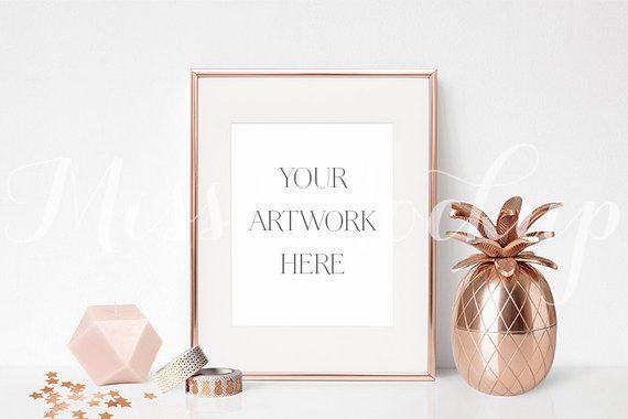 9ed505238bb5 8x10 DIGITAL Rose Gold Frame Mockup (Portrait) - Stock Photo