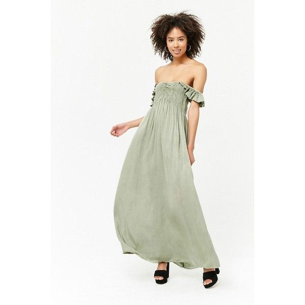 59cdf9797bb Forever 21 Mineral Wash Maxi Dress Sage ( 30) ❤ liked on Polyvore featuring  dresses