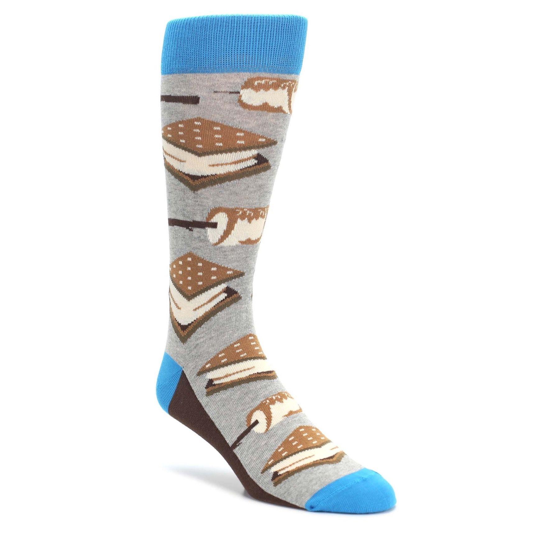 Gray Brown Marshmallow Smores Men s Dress Socks