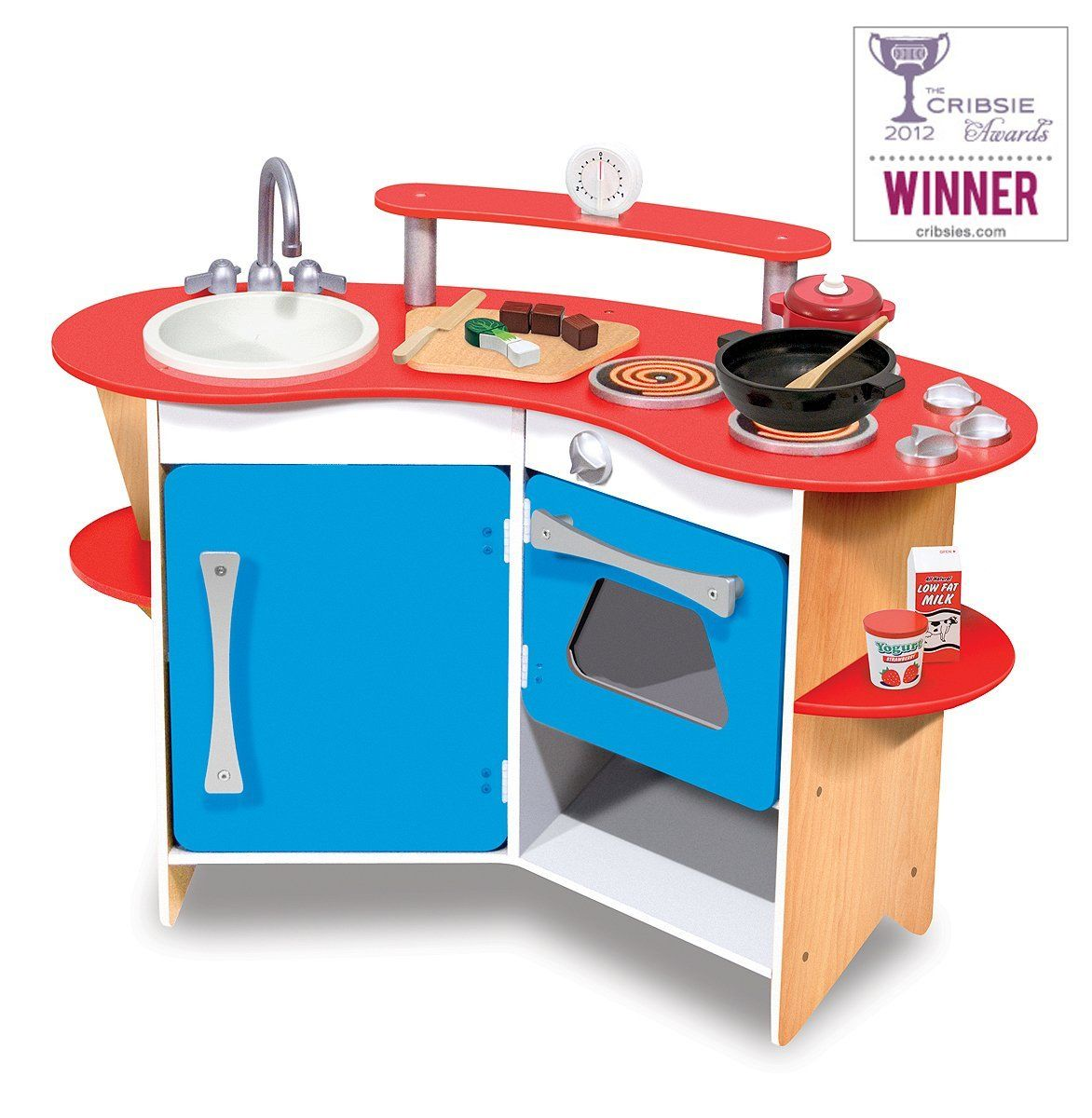 Melissa & Doug Cooks Corner Wooden Kitchen Removable sink and faucet ...