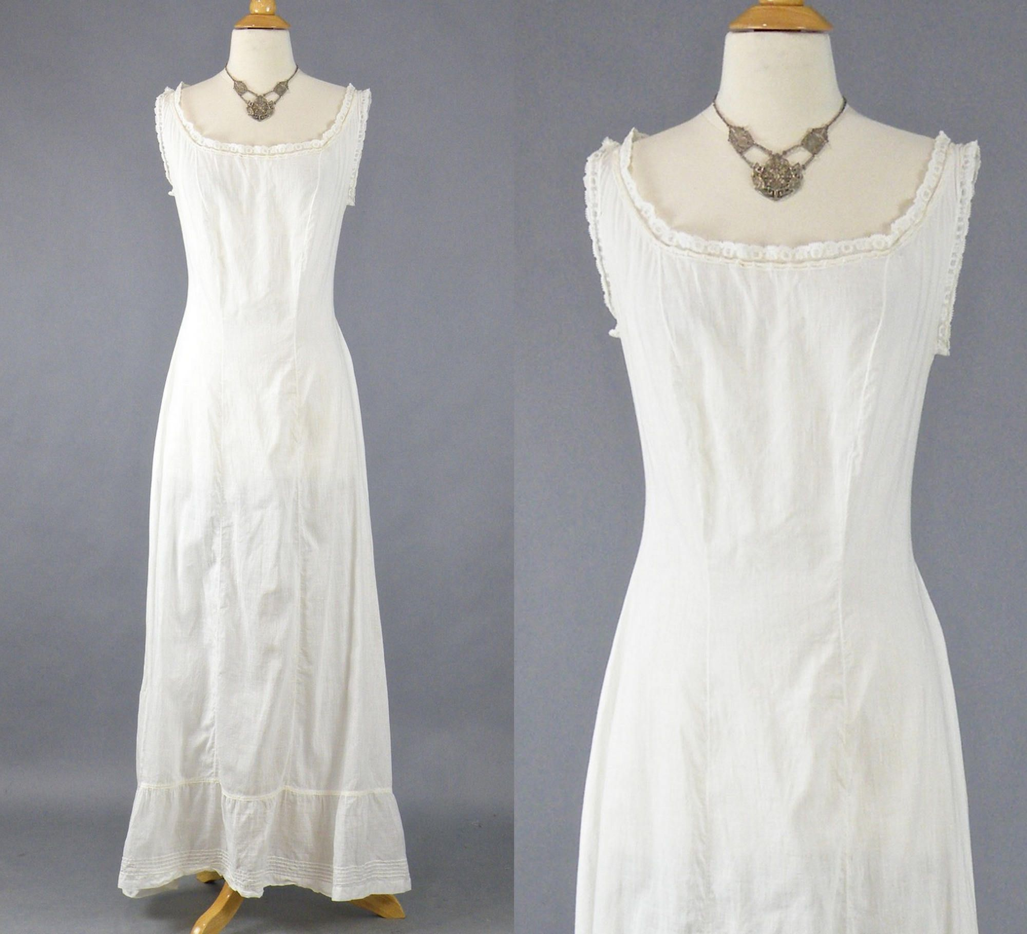 Edwardian Chemise Dress, 1900s White Cotton Slip Dress, Antique ...