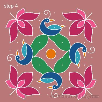 how to draw peacock rangoli step by step
