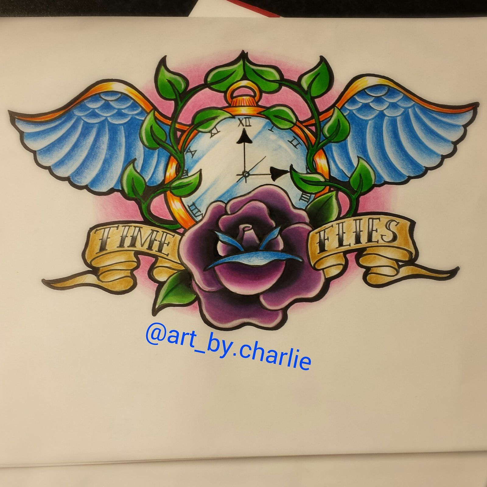 New school tattoo design - Time Piece New School Tattoo Design By Charlie Mcclenaghan Designs