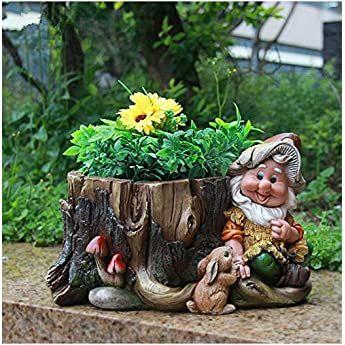 Design XL Zwerg mit 3 Blumentopf 27 cm Hoch NF 15195 Deko Garten Gartenzwerg Figuren Dekoration: Amazon.de: Garten