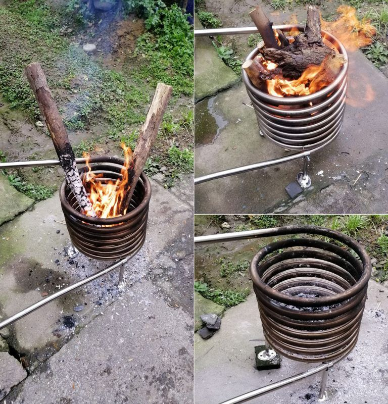 Wooden Fired Hot Tub Coil Heater Outdoor Tub Hot Tub