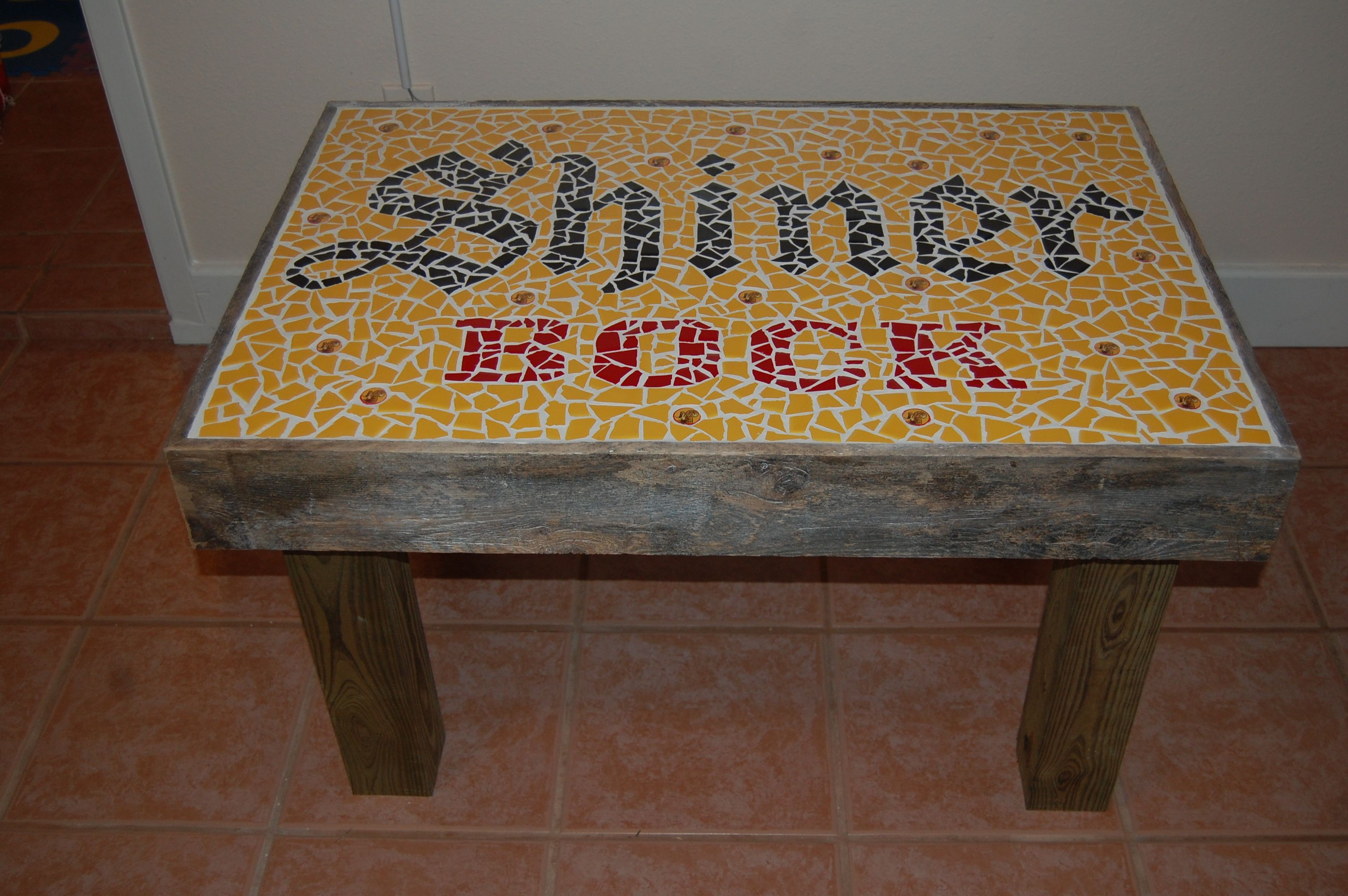 Shiner bock mosaic coffee table with tile shiner bock for How to make a table out of bottle caps