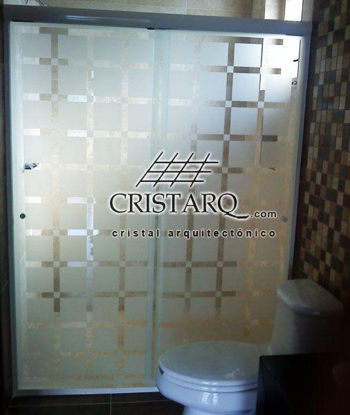 Cancel de aluminio y cristal tempado corredizo con for Canceles de bano templados