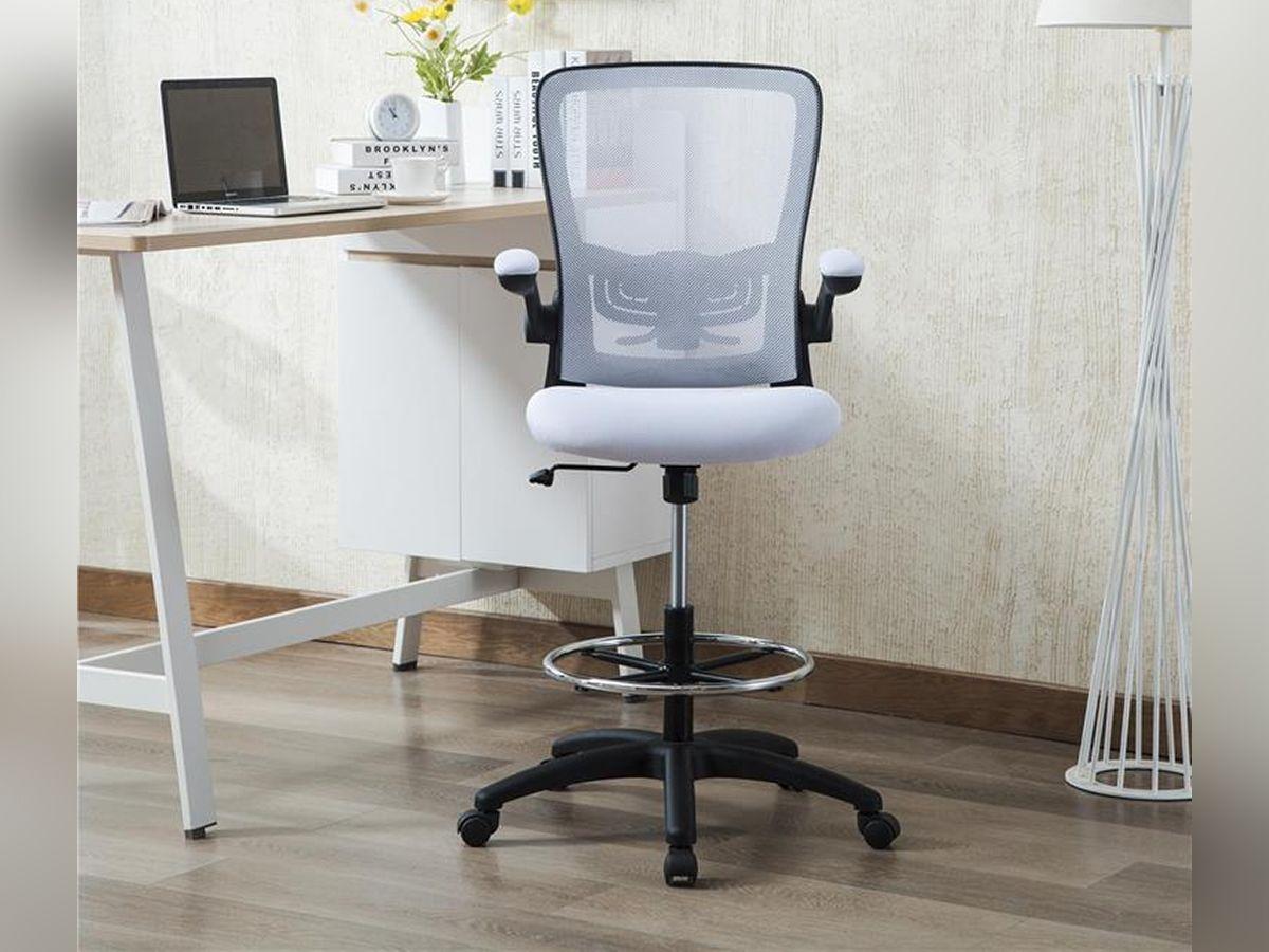 Homevol Ergonomic Swivel Drafting Chair Height Adjustable Breathable Mesh Back With Steel Footring Flip Up Padd Drafting Chair Chair Adjustable Standing Desk