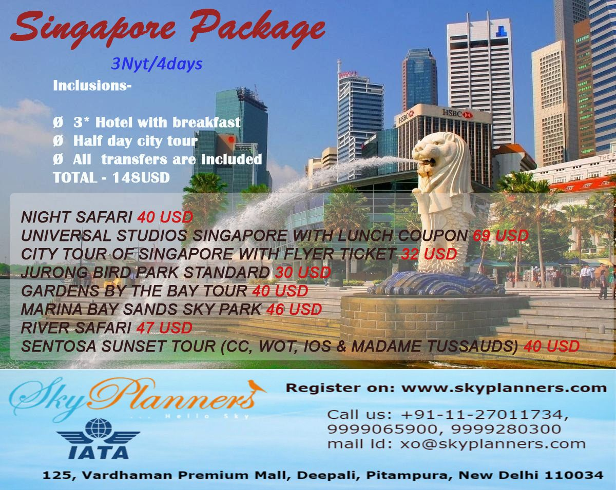 Singapore 3nyt4days package Inclusions  3 Hotel with