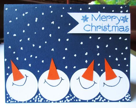 Snowmen Christmas Cards Blue Christmas Card Set Holiday | Etsy