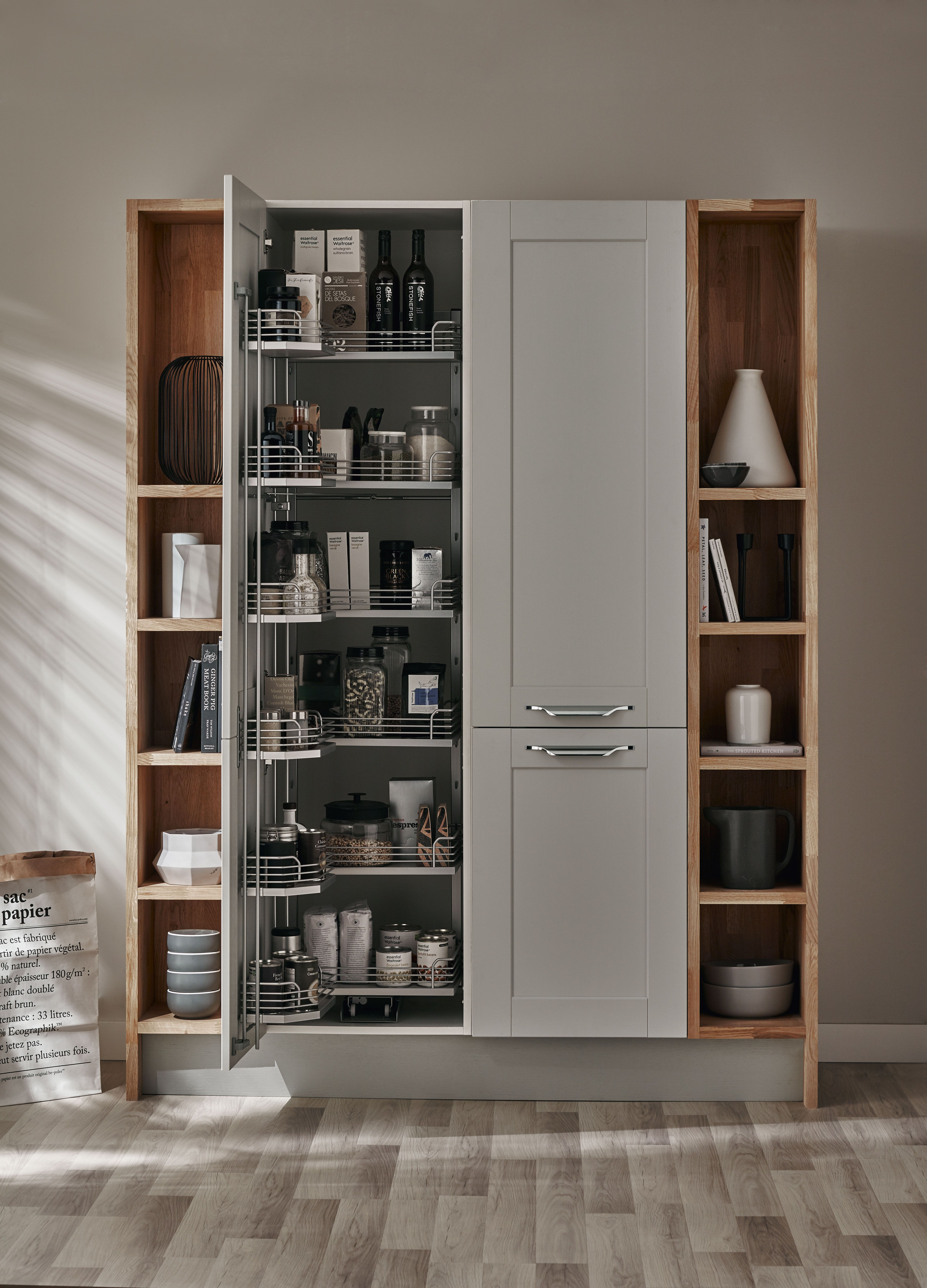 A Beautiful Bespoke Larder Storage Unit In Our Fairford Dove Grey Kitchen The Shaker Collection