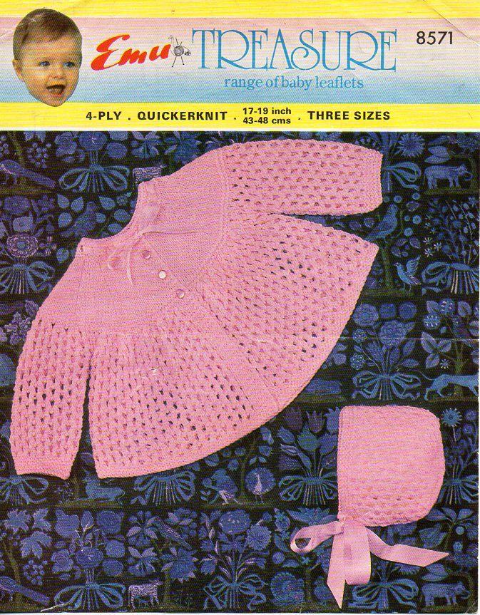 1a671324b baby matinee coat bonnet knitting pattern pdf lacy matinee jacket ...
