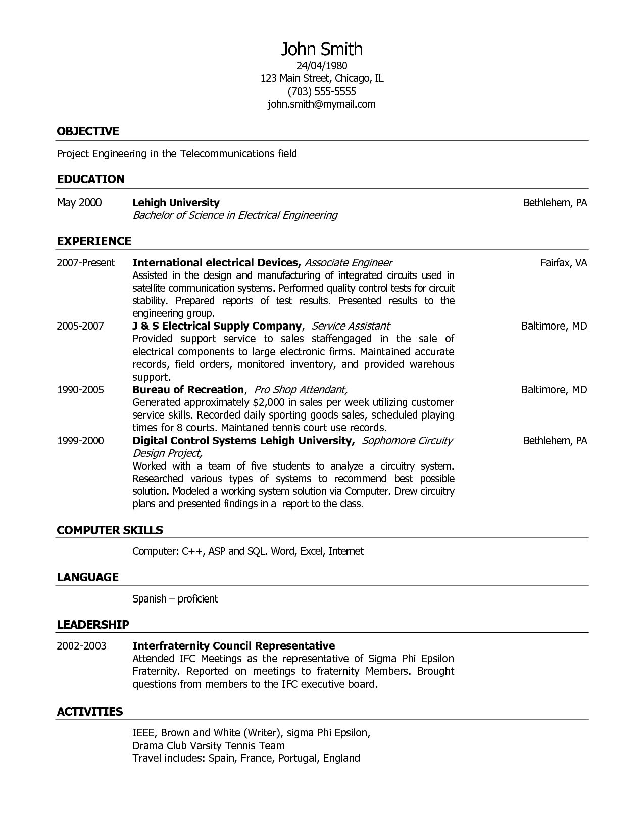 Freshers Resume Format PDF | Free Samples , Examples & Format ...