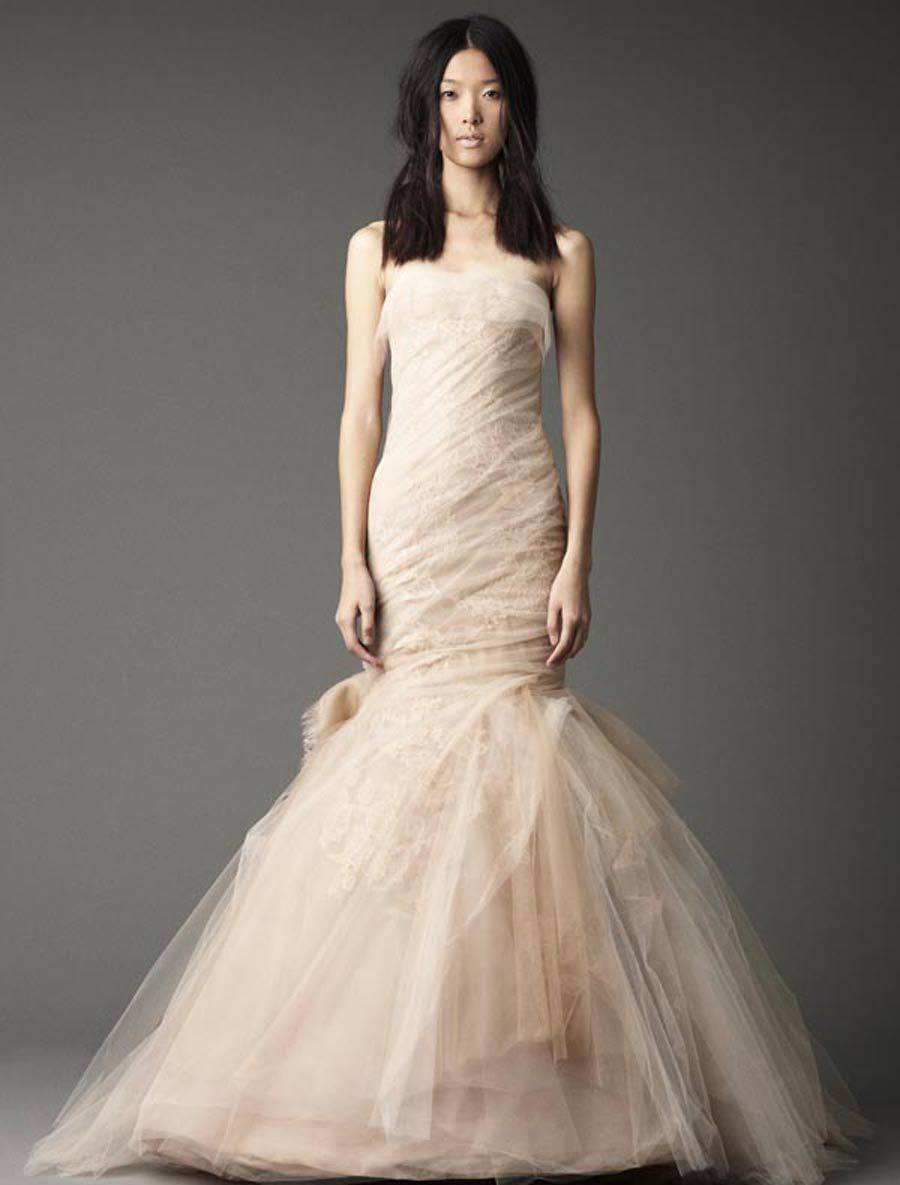 9da1706f8292 Go off the beaten track in a fall 2012 Vera Wang wedding gown. Everything  from the shape to the color is different this fall, so why don't you take a  look?