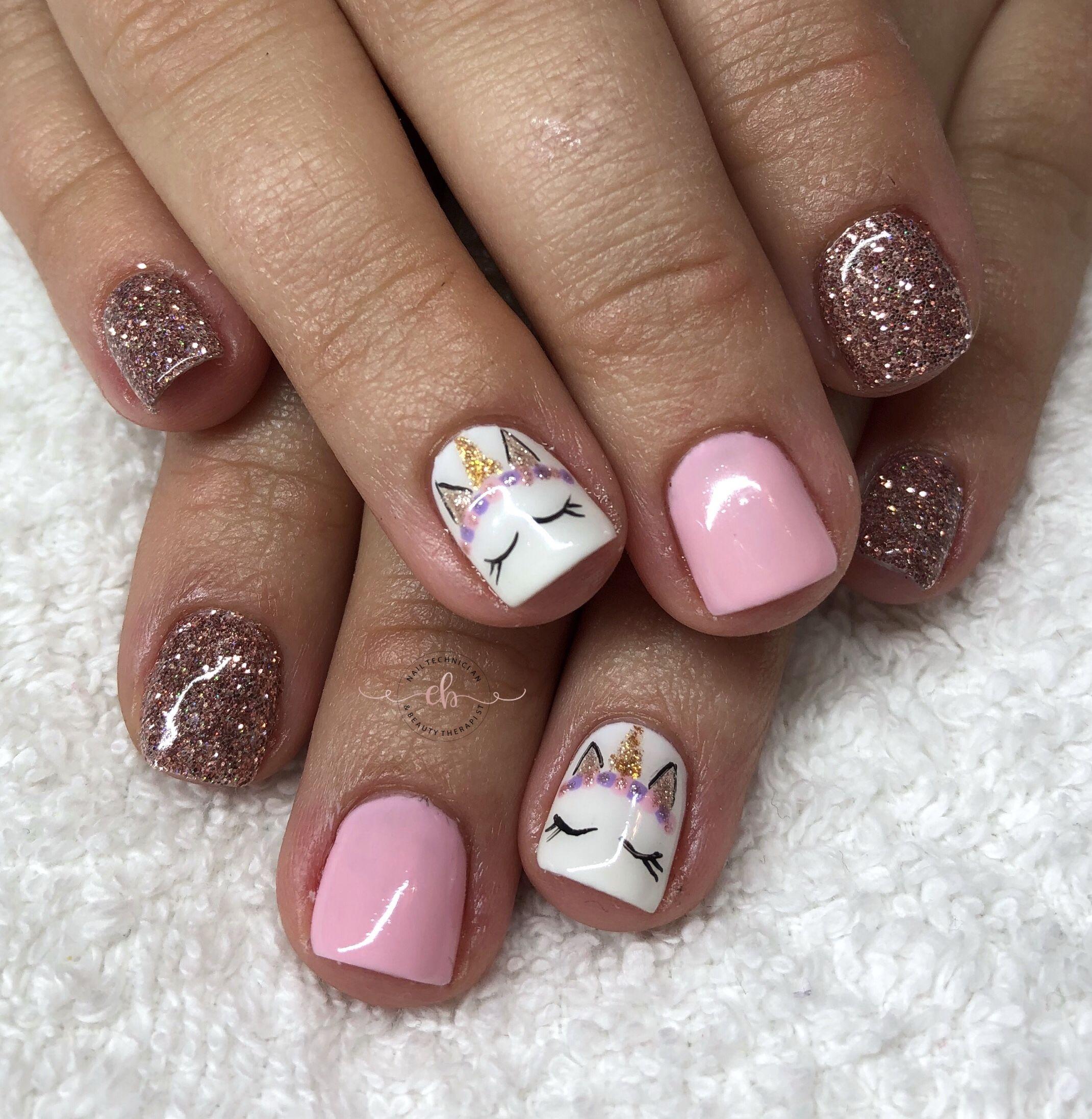 Hand Painted Unicorn Nails Emb Beauty Girls Nail Designs Kids Nail Designs Unicorn Nail Art