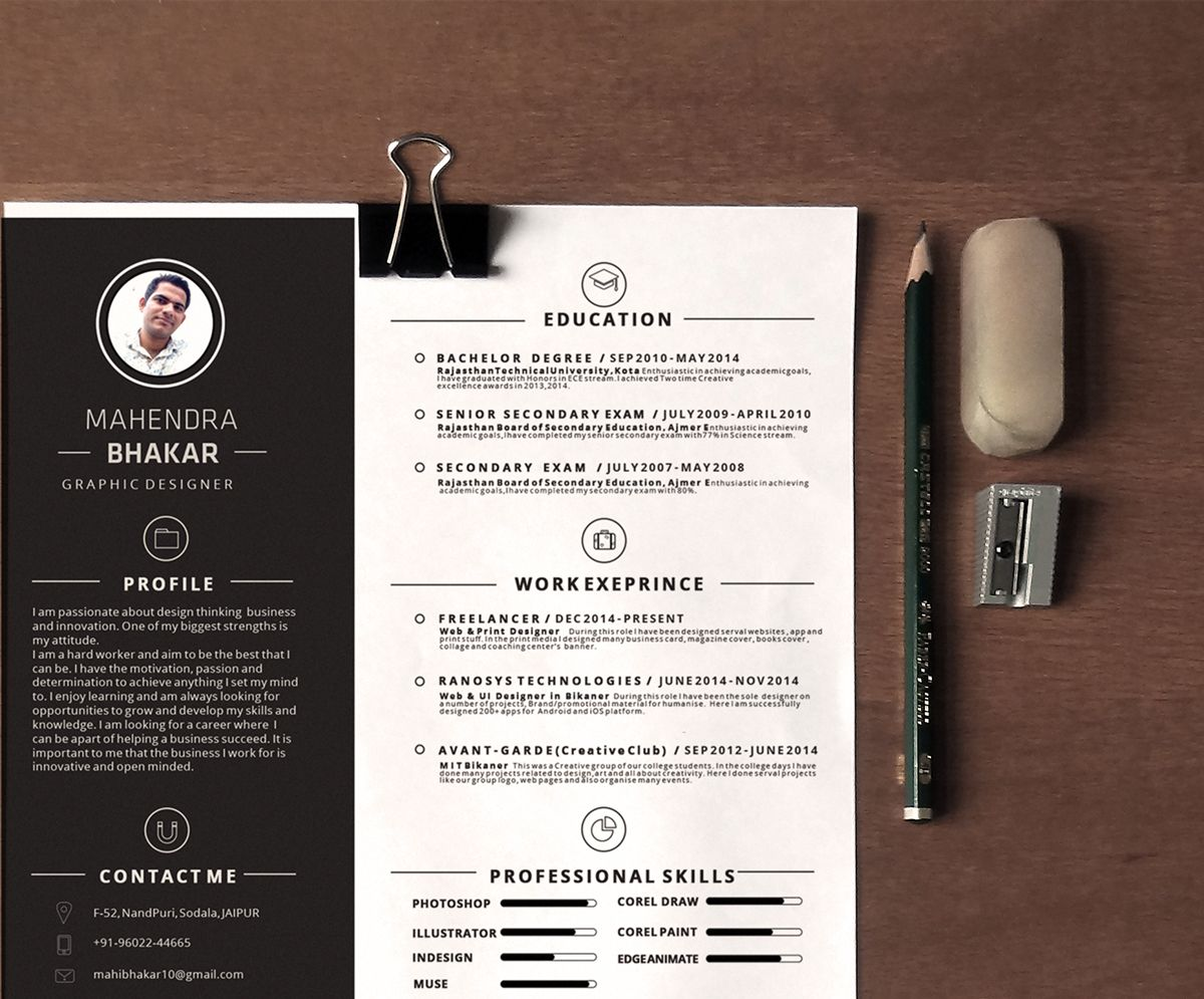 Free Resume Template On Behance Portfolio Behance
