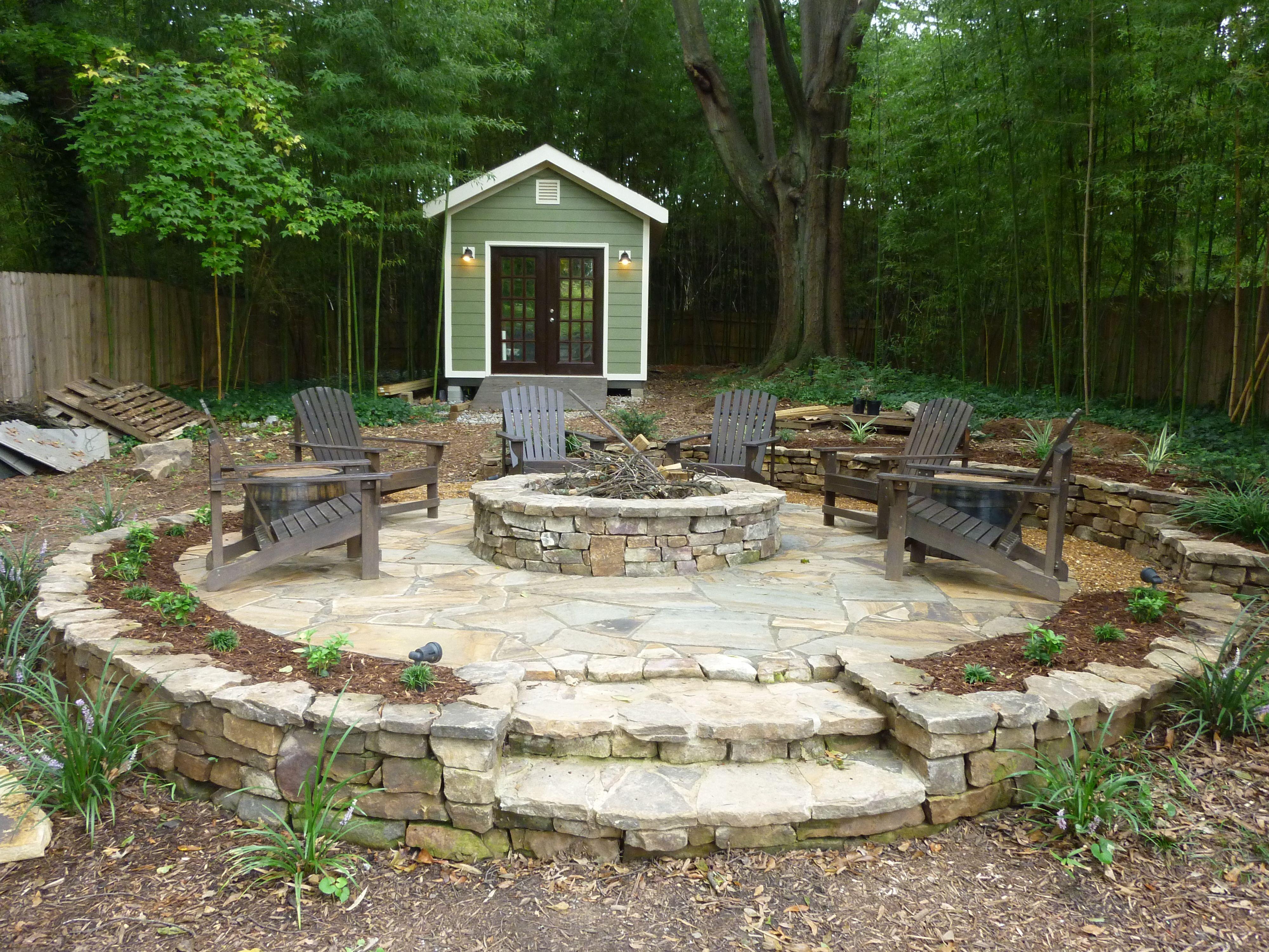 Fire Pit Firepit Shed Stone Patio Landscape Ideas