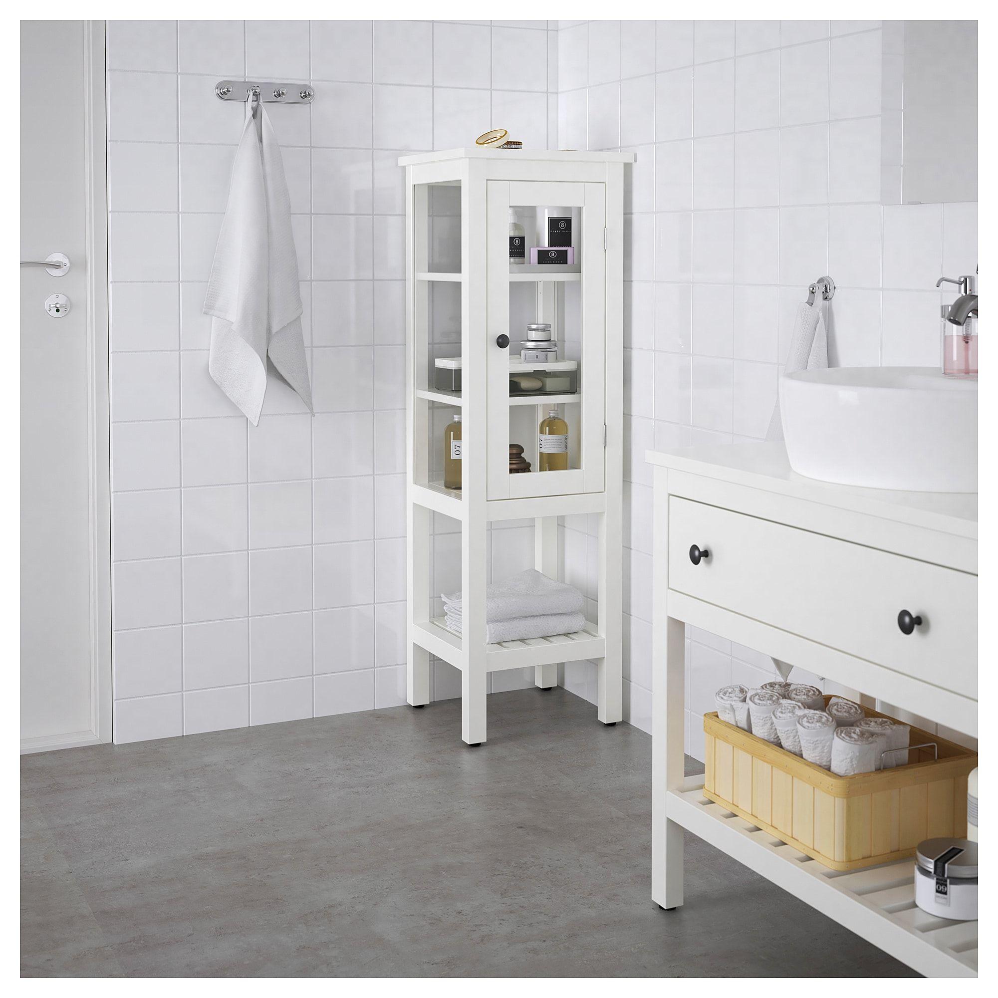 Hemnes High Cabinet With Glass Door White 42x38x131 Cm Glass