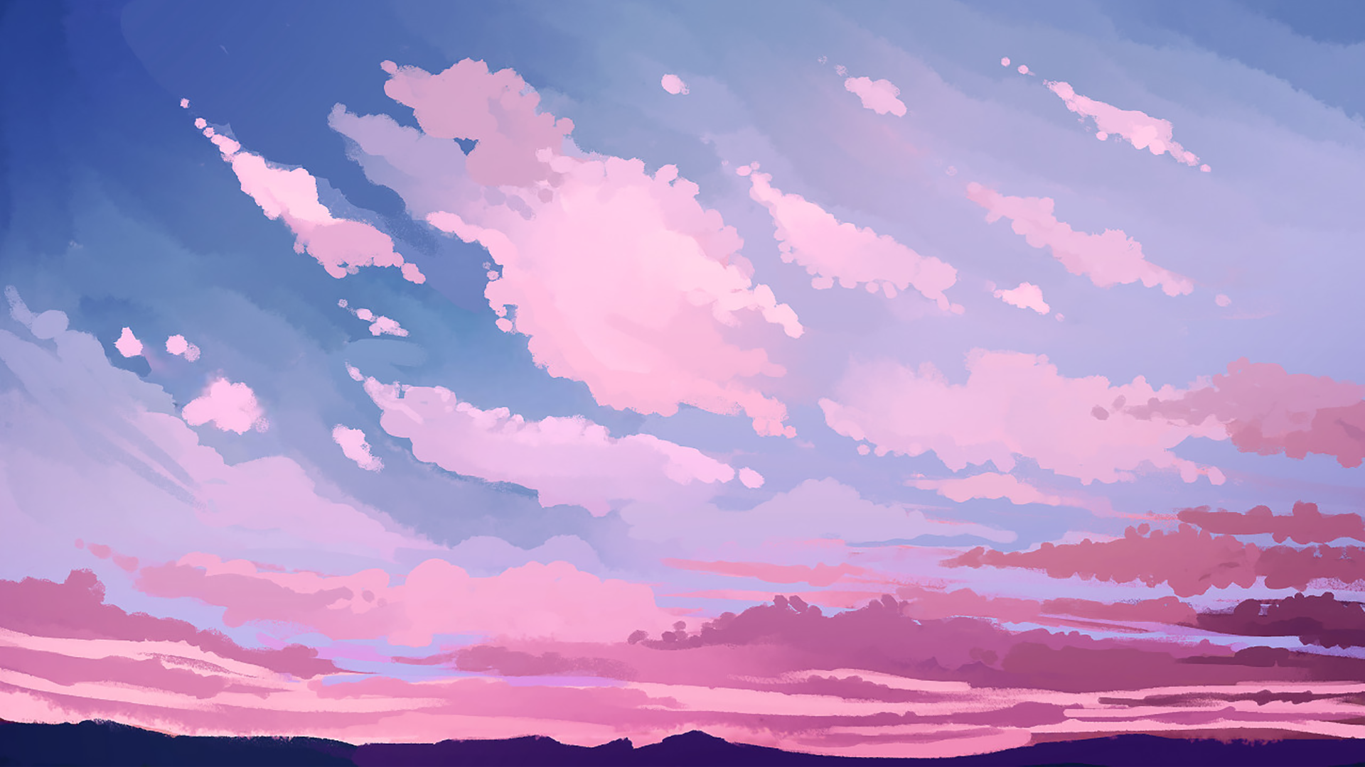 Pink Skies 1920x1080 Desktop Wallpaper Art Aesthetic Desktop Wallpaper Anime Scenery Wallpaper