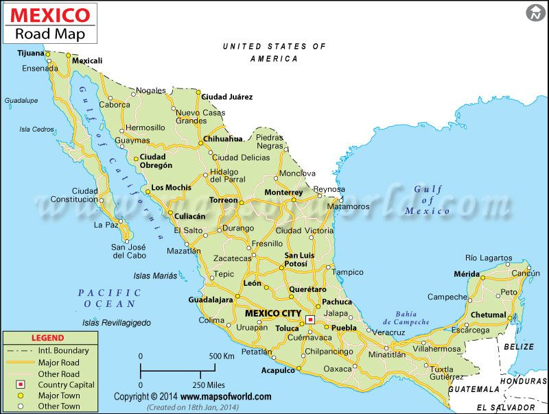 Mexico Road Map Maps Pinterest
