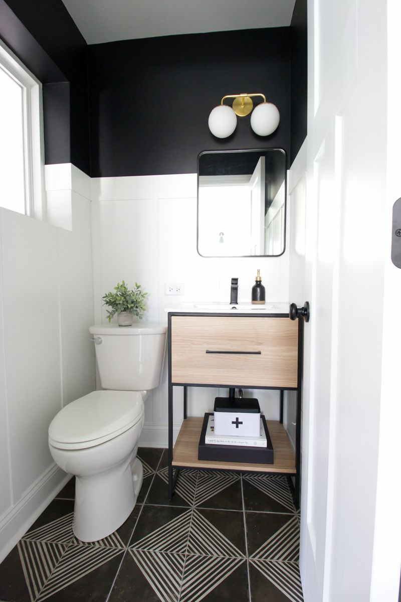 Black + White Powder Room Makeover | Black white bathrooms ...