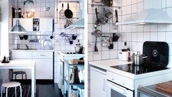 Valkoinen keittiö, jossa seinäsäilyttimiä, HÄGGEBY-etusarjat ja LAGAN-kodinkoneet