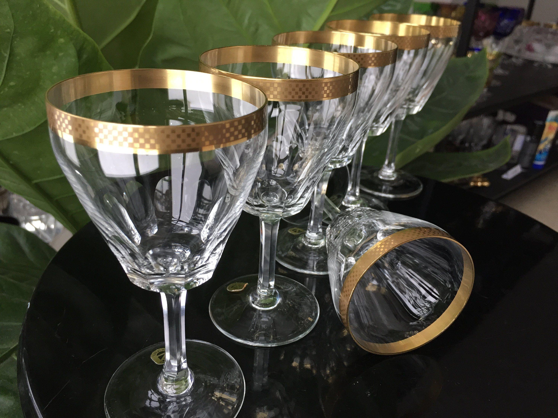 6x Crystal Wine Hocks Glasses 24k Gold Rimmed Schott Zwiesel Barware Vintage Bar Cart Glasses Bar Cart Vintage Bar The Originals