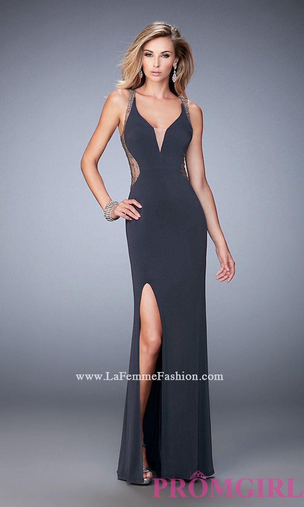 e7169eb40b1 Open Back Long La Femme V-Neck Prom Dress Style  LF-22296