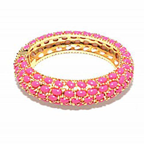 Pink Stone Bangle zokydoky.com #zokydoky #summer #pink #hotpink #gold #bangle