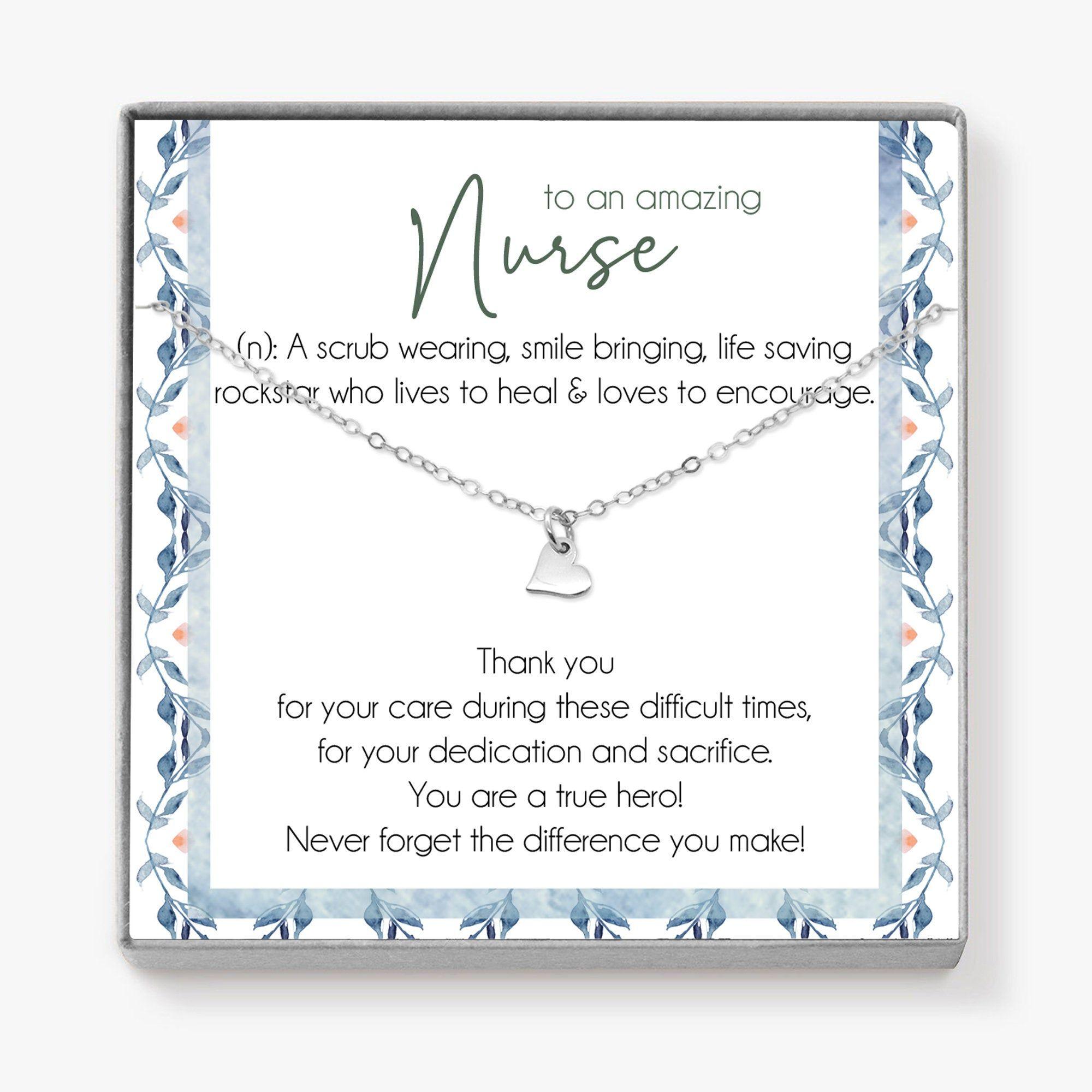 nurse gift thank you card heart necklace thank you gift